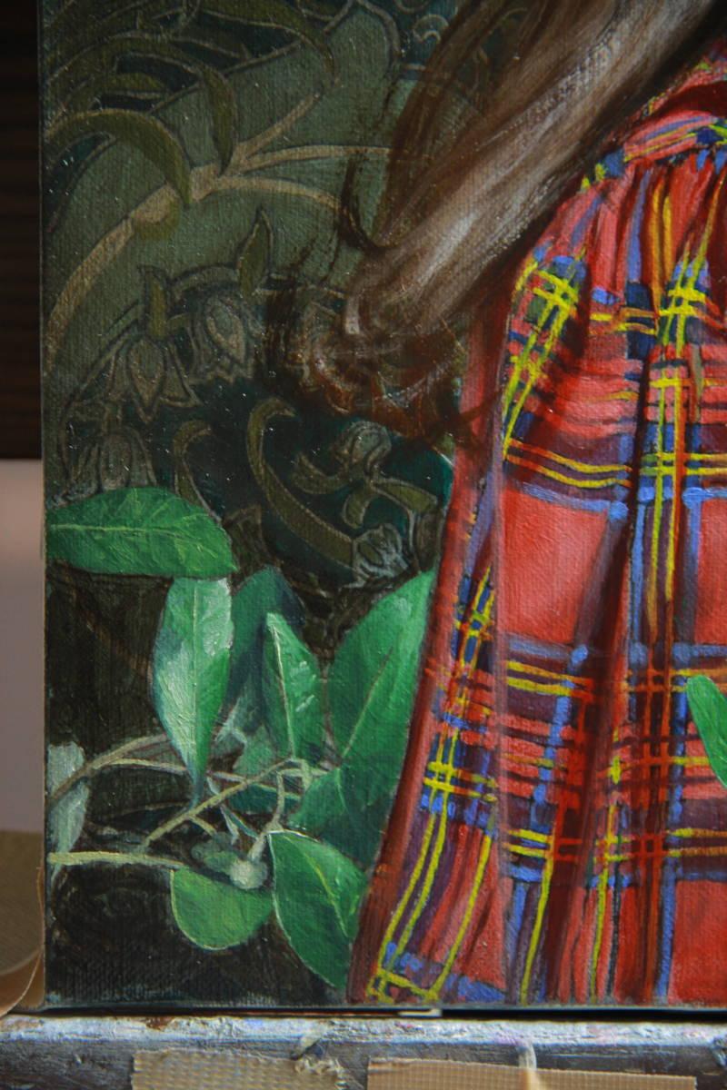 赤いチェックの服を着た少女(リラI) Hiroki Fukuda 275x190mm 2019年Arcadia ContemporaryのブースよりLA ART SHOW出品(ロサンゼルス)_画像4