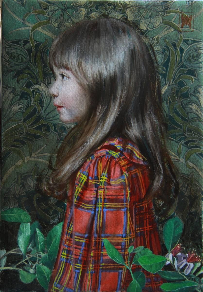 赤いチェックの服を着た少女(リラI) Hiroki Fukuda 275x190mm 2019年Arcadia ContemporaryのブースよりLA ART SHOW出品(ロサンゼルス)