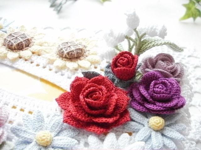 ハンドメイド*レース編み *お花モチーフ付きティッシュボックスカバー*薔薇・すずらん・百合・ひまわり・マーガレット_画像4