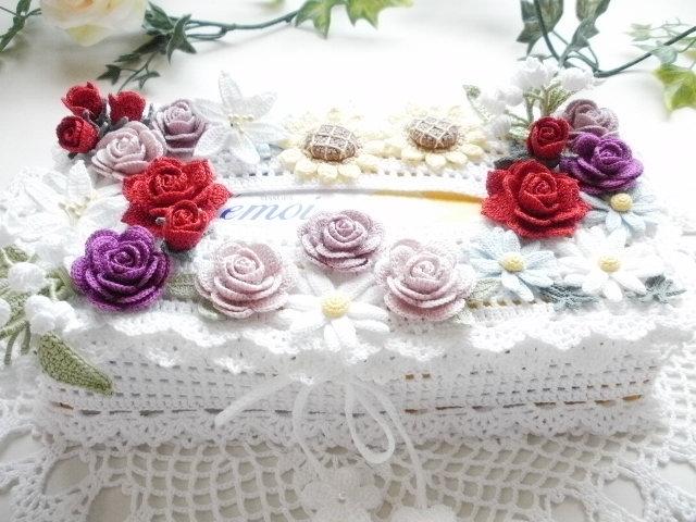 ハンドメイド*レース編み *お花モチーフ付きティッシュボックスカバー*薔薇・すずらん・百合・ひまわり・マーガレット_画像2