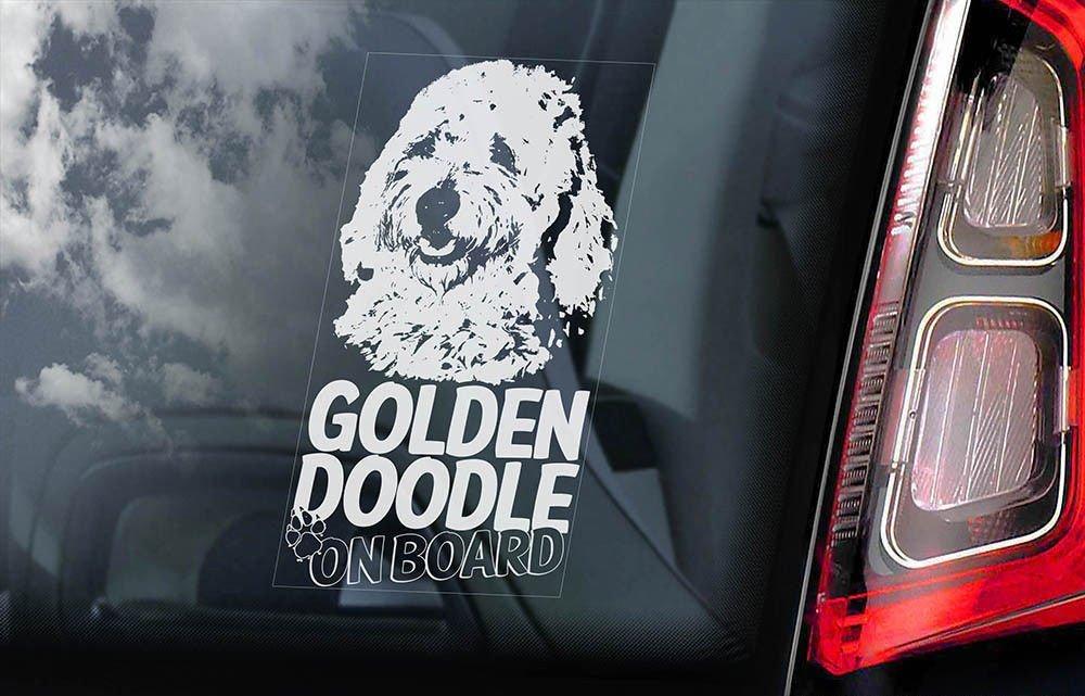 送無【ゴールデンドゥードル】外張り@カーステッカー デカール 195x100mm@外貼り@カー ステッカー シール DOG ON BOAD 犬 グルードル D2_画像1