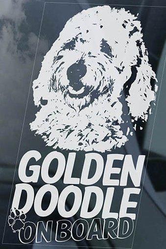 送無【ゴールデンドゥードル】外張り@カーステッカー デカール 195x100mm@外貼り@カー ステッカー シール DOG ON BOAD 犬 グルードル D2_画像2