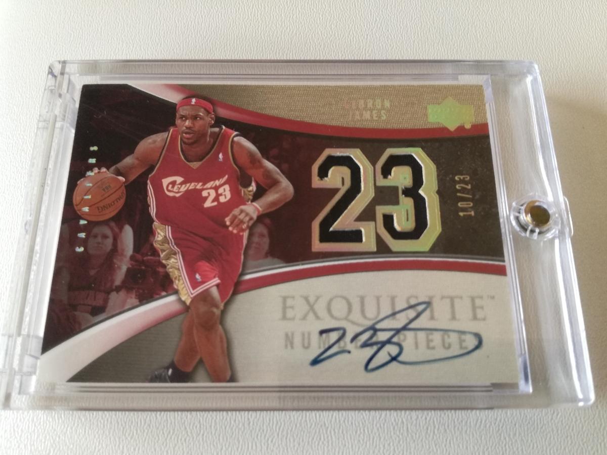 【レア】NBA LEBRON JAMES 直筆サインカード(#/23) 04-05 Exquisite Collection Number P