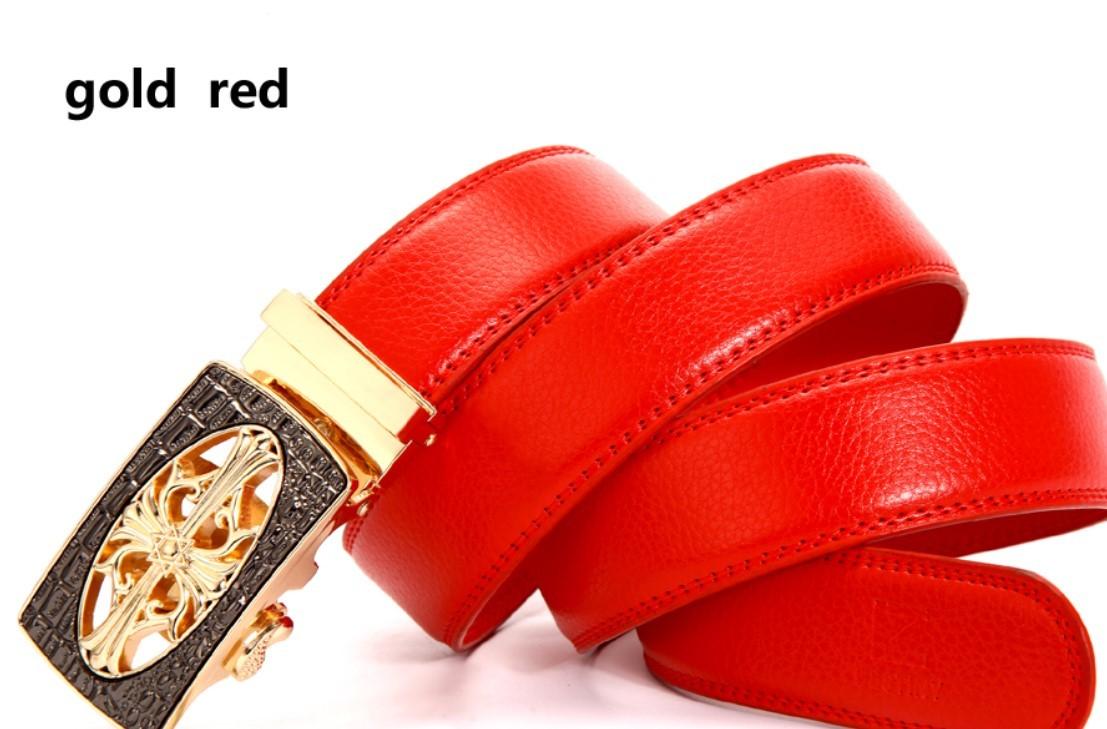 レア超高級 〇 ブラックゴールド十字 赤皮ベルト 115cm 〇 新品 !!! クイック無段式ベルト