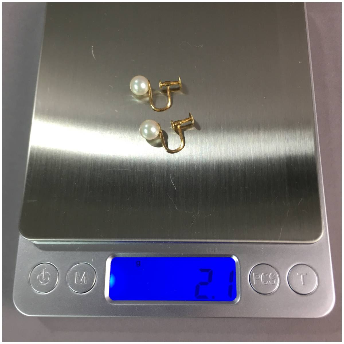パール イヤリング 真珠 金具K18 18金製 重量2g 少しピンク色_画像4
