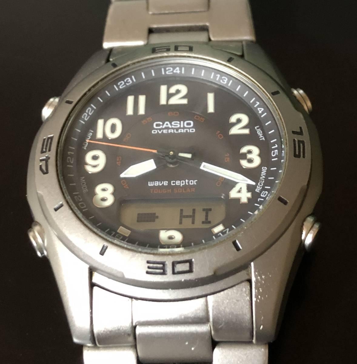 【送料込み】カシオ 電波ソーラー腕時計 チタン製 オーバーランド CASIO OVERLAND OAW-100【最落なし/格安スタート】_画像8