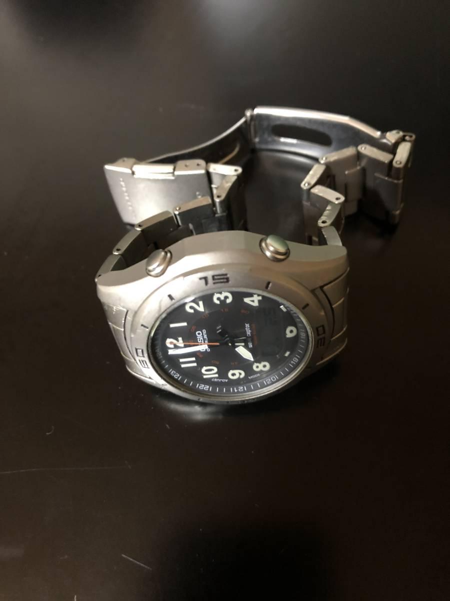 【送料込み】カシオ 電波ソーラー腕時計 チタン製 オーバーランド CASIO OVERLAND OAW-100【最落なし/格安スタート】_画像4