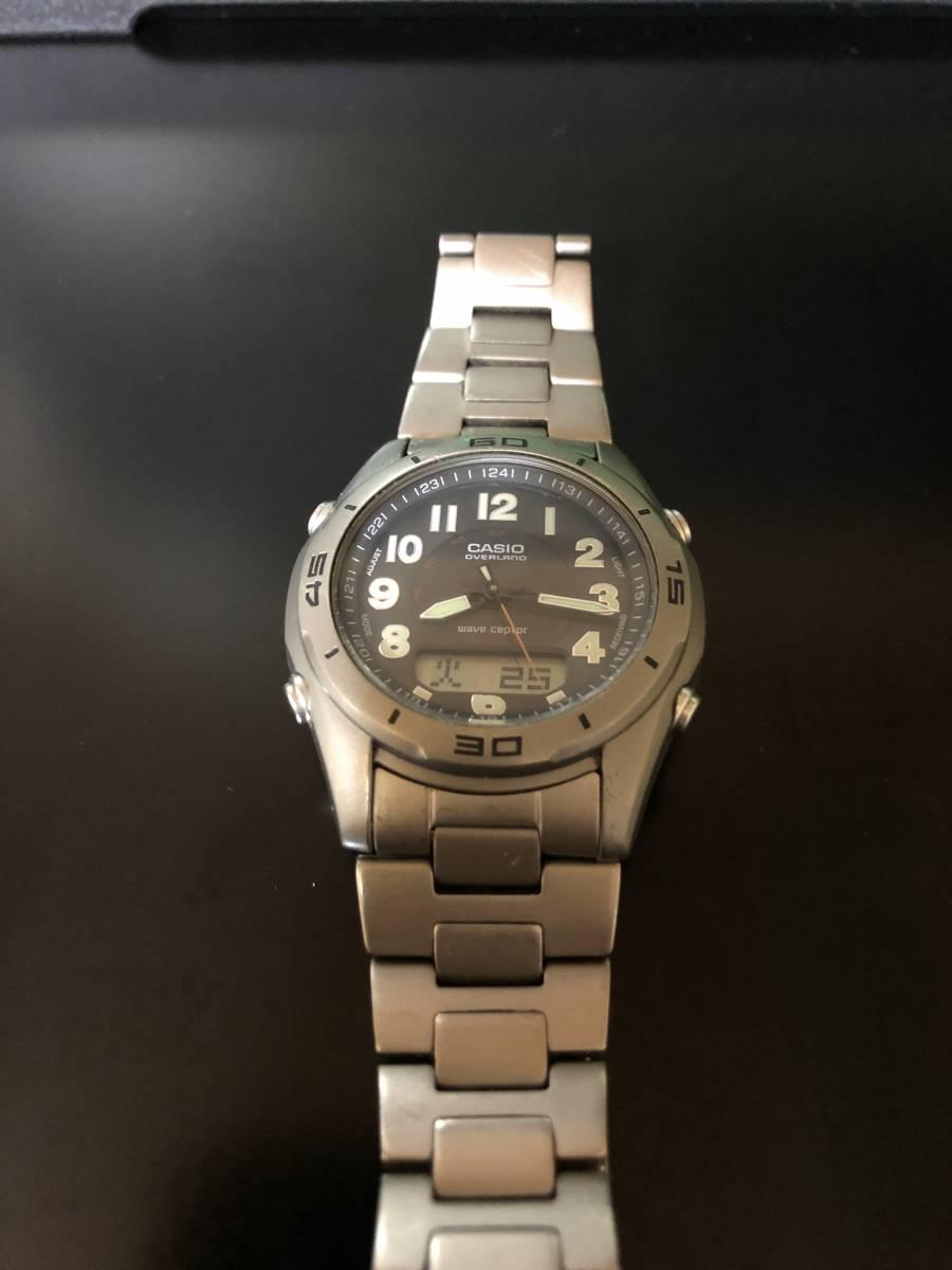 【送料込み】カシオ 電波ソーラー腕時計 チタン製 オーバーランド CASIO OVERLAND OAW-100【最落なし/格安スタート】_画像3