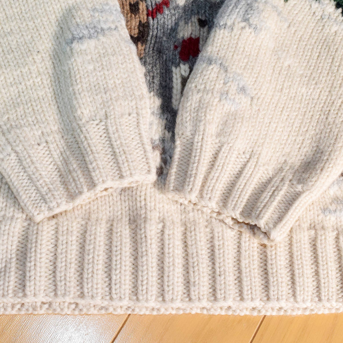 美品◆ラルフローレン ネイティブ ハンドニット 厚手 タートルネック セーター メンズS M 犬 インディアン 雪 古着 ビンテージ 80s 90s_画像5