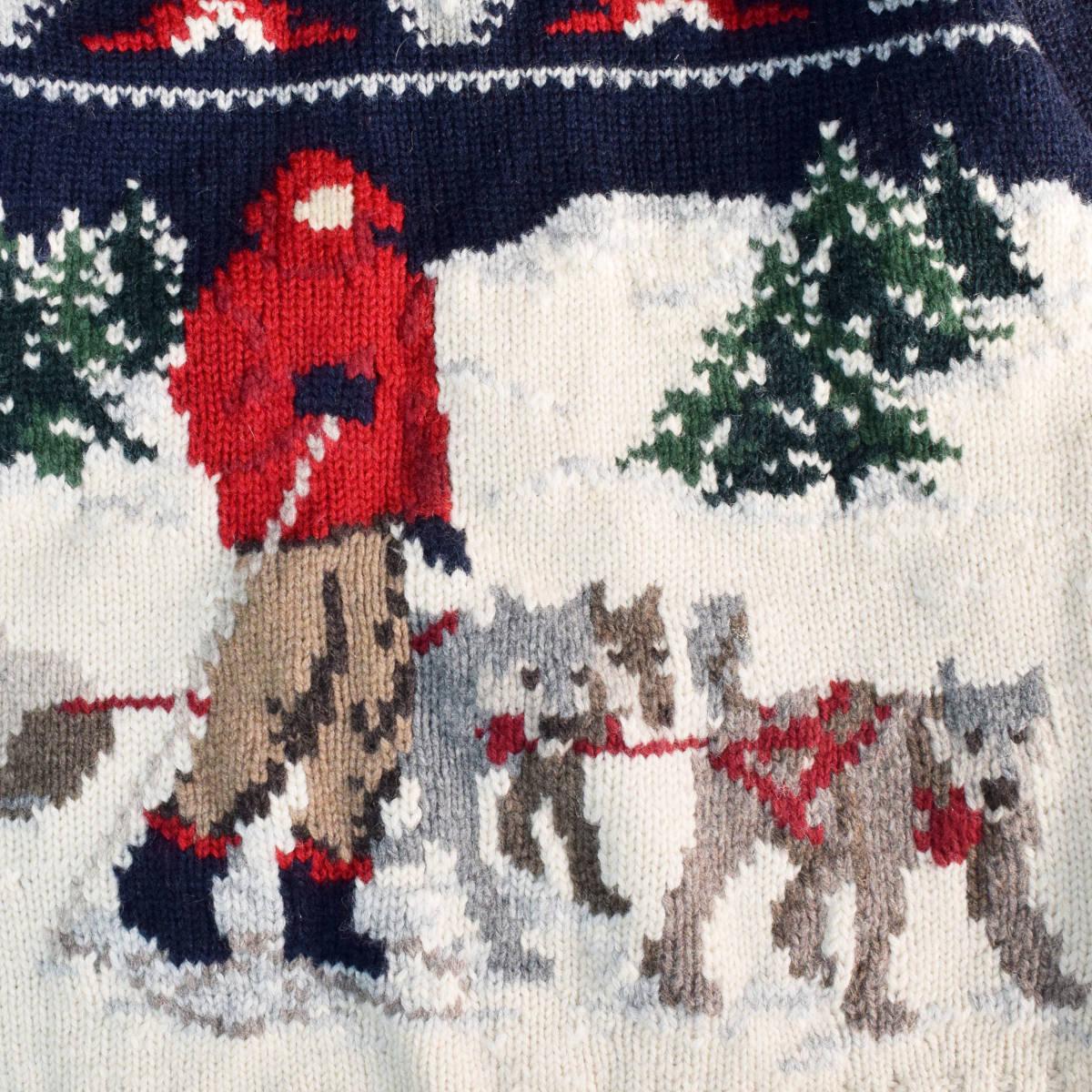 美品◆ラルフローレン ネイティブ ハンドニット 厚手 タートルネック セーター メンズS M 犬 インディアン 雪 古着 ビンテージ 80s 90s_画像4