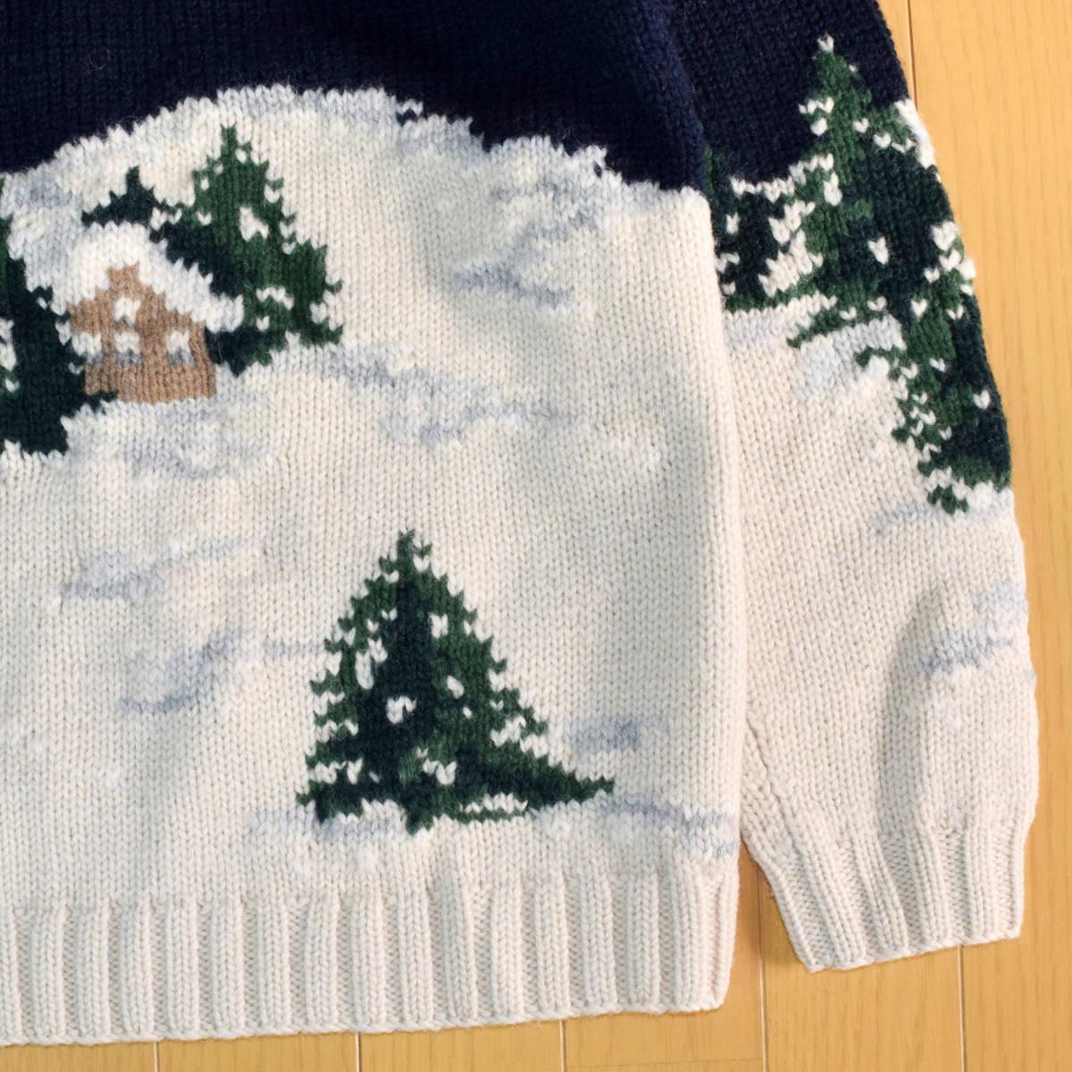 美品◆ラルフローレン ネイティブ ハンドニット 厚手 タートルネック セーター メンズS M 犬 インディアン 雪 古着 ビンテージ 80s 90s_画像8