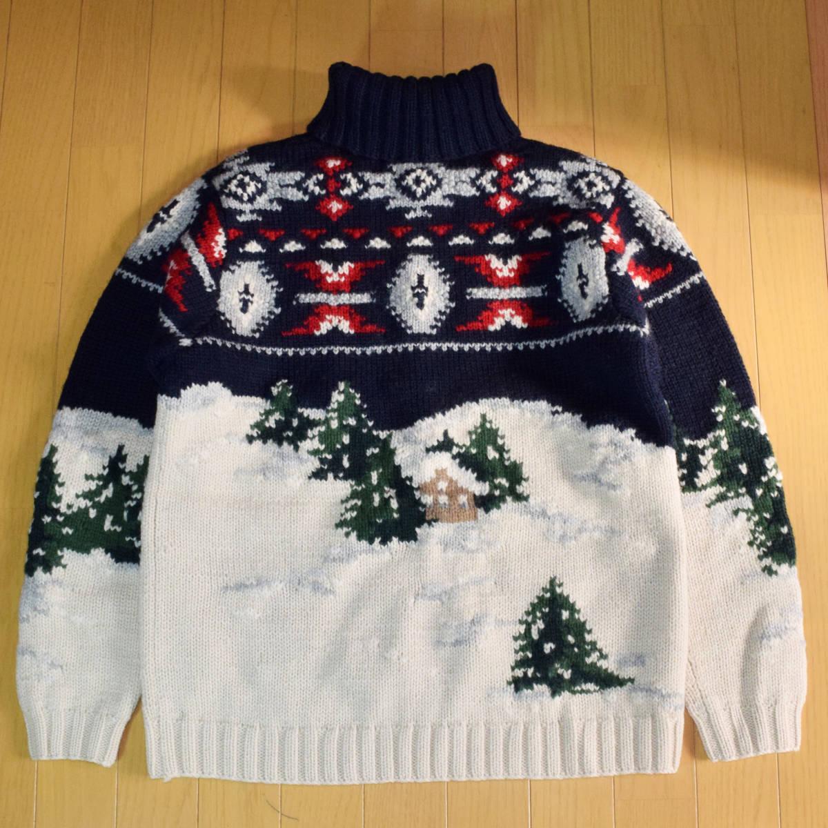 美品◆ラルフローレン ネイティブ ハンドニット 厚手 タートルネック セーター メンズS M 犬 インディアン 雪 古着 ビンテージ 80s 90s_画像6