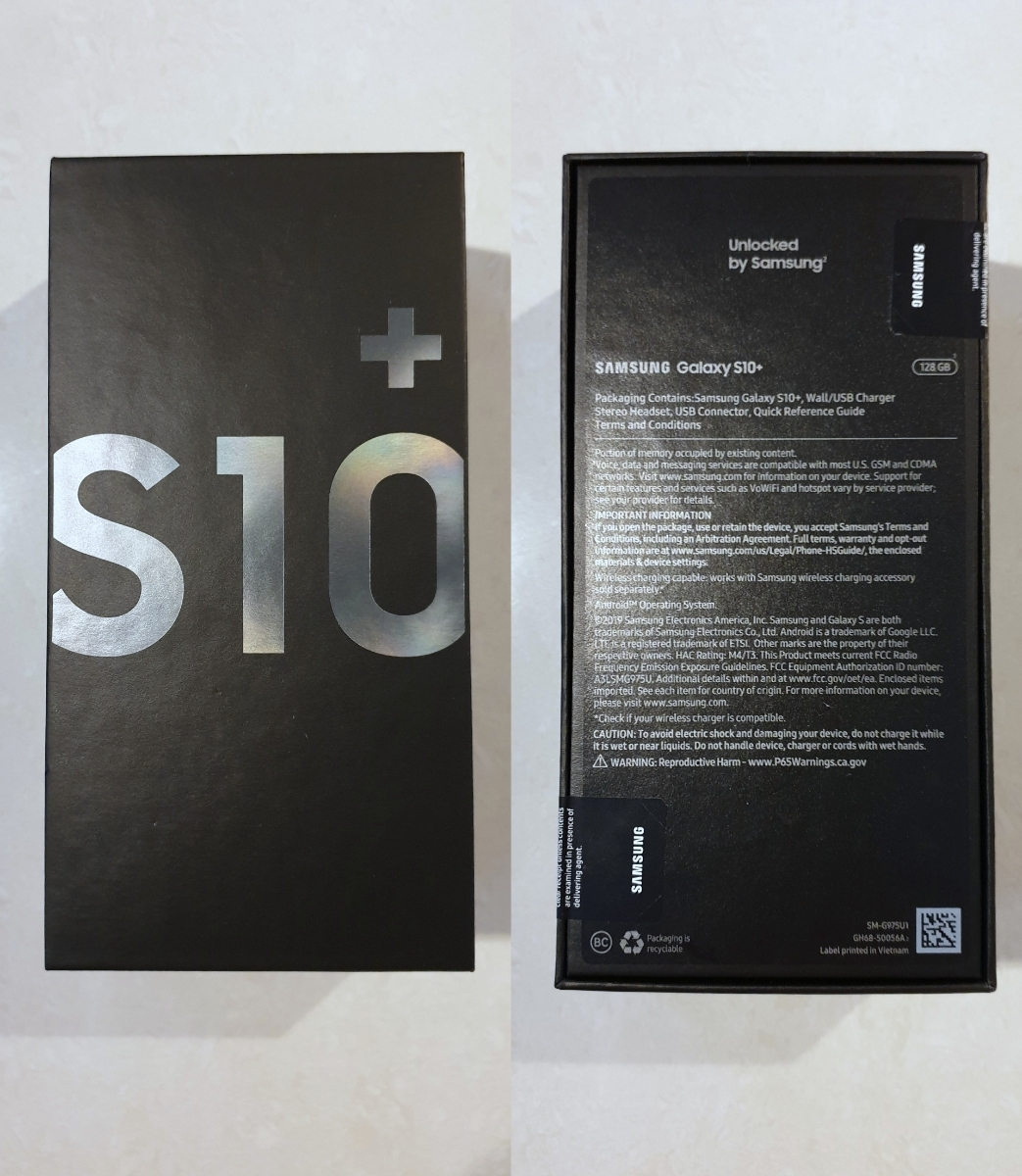 新品 未使用 送料込み Samsung Galaxy S10+ Plus Snapdragon 855 SM-G975U1 128GB Prism Black プリズムブラック simフリー