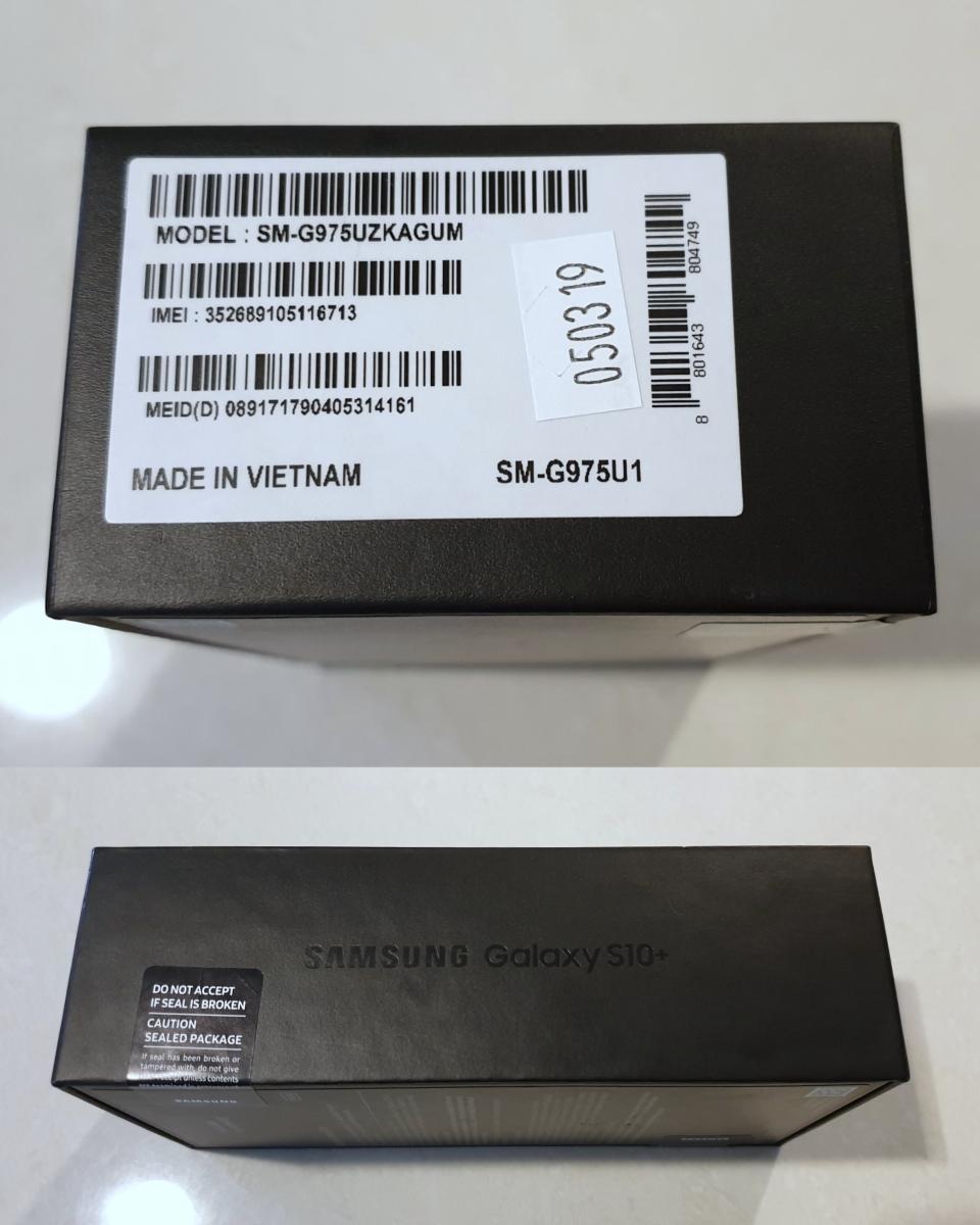 新品 未使用 送料込み Samsung Galaxy S10+ Plus Snapdragon 855 SM-G975U1 128GB Prism Black プリズムブラック simフリー_画像4