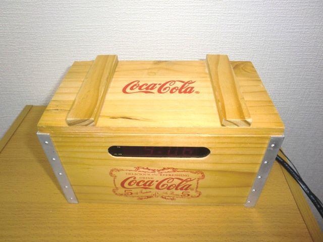 Coca-Cola Wood Crate AM/FM Clock Radio Miniature Bottles コカコーラ 木製 AM/FMラジオ 目覚まし時計_画像2