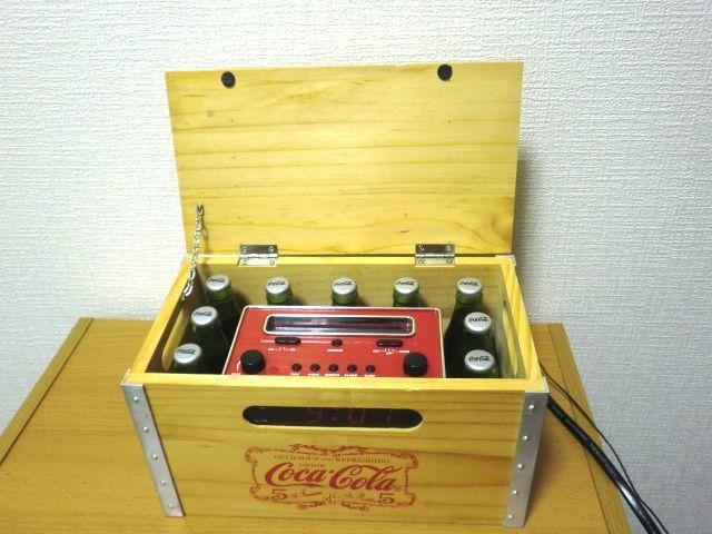 Coca-Cola Wood Crate AM/FM Clock Radio Miniature Bottles コカコーラ 木製 AM/FMラジオ 目覚まし時計_画像3