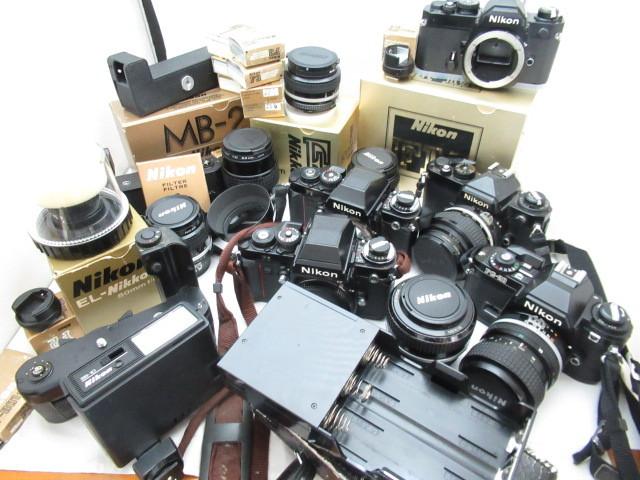 367☆ニコン ジャンクセット FE 50mm 1.2/105mm 2.5/FG-20 35-70/F3/55mm 1:2/50mm 1.4/MD-4/35mm 1:2/MB-2 カメラ レンズ 1円~