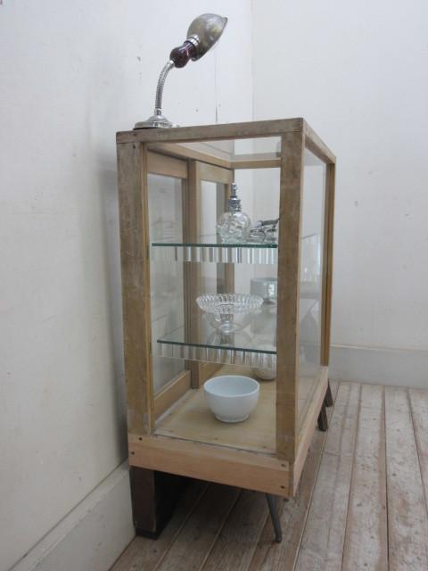 古い楢材モールガラスのパンケースH370  アンティークガラスケース店舗什器カフェ什器古家具無垢材_画像5