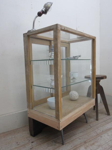 古い楢材モールガラスのパンケースH370  アンティークガラスケース店舗什器カフェ什器古家具無垢材_画像10