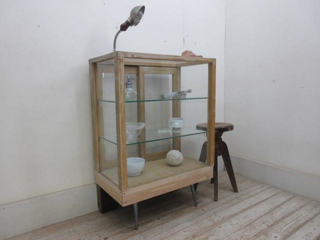 古い楢材モールガラスのパンケースH370  アンティークガラスケース店舗什器カフェ什器古家具無垢材