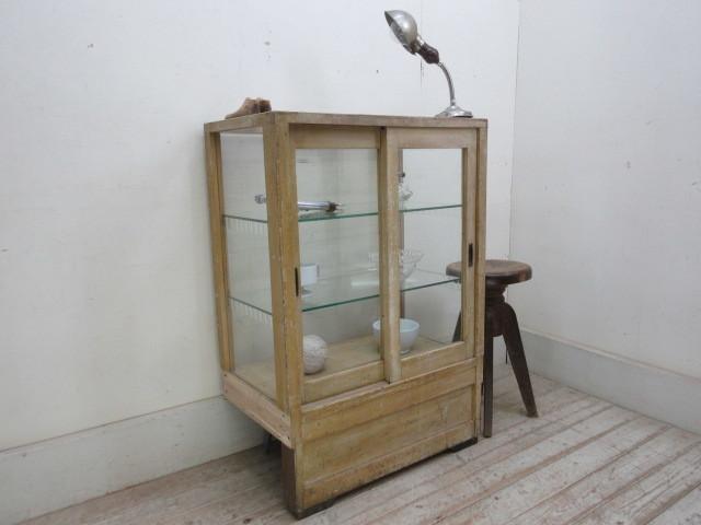古い楢材モールガラスのパンケースH370  アンティークガラスケース店舗什器カフェ什器古家具無垢材_画像2