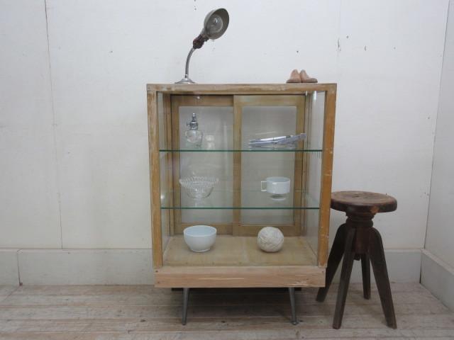 古い楢材モールガラスのパンケースH370  アンティークガラスケース店舗什器カフェ什器古家具無垢材_画像3