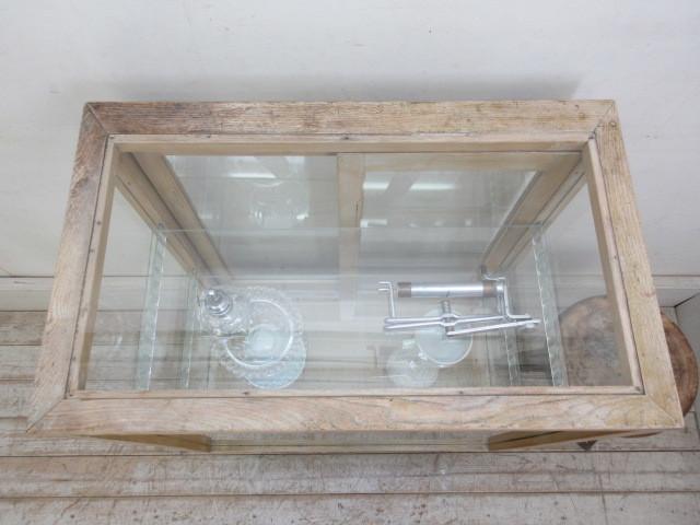 古い楢材モールガラスのパンケースH370  アンティークガラスケース店舗什器カフェ什器古家具無垢材_画像4