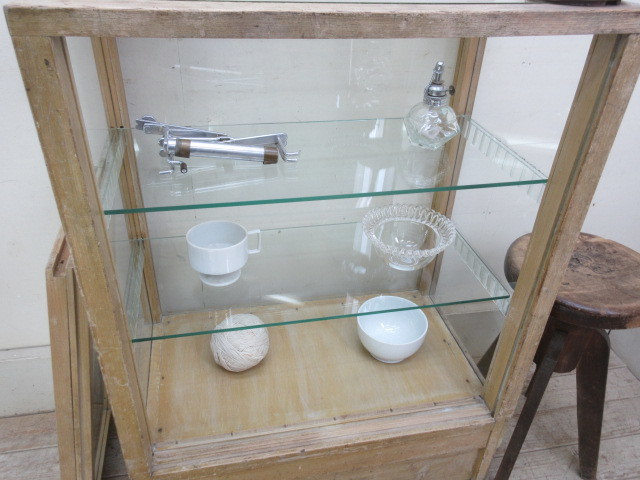 古い楢材モールガラスのパンケースH370  アンティークガラスケース店舗什器カフェ什器古家具無垢材_画像6