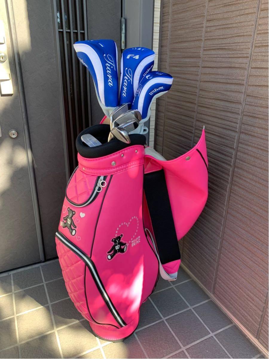 【美品】 ウィルソン レディース用ゴルフセット(ティアラ+ウィルソンベアー キャディバック)_画像8
