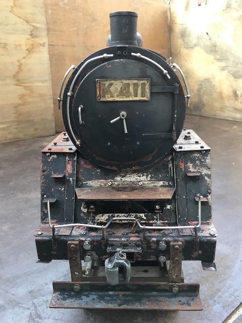 W80 ライブスチーム K 411 小栗車輌 製造 蒸気機関車 5インチゲージ 乗用 古鈴 芹香鉄道 台車付 機関車 SL ジャンク品_画像3