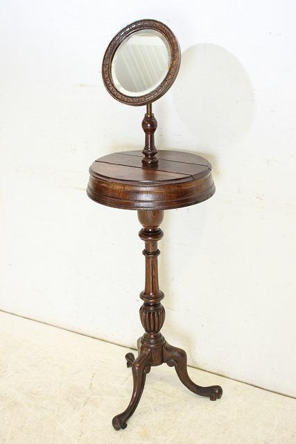 ミラー 鏡 アンティーク家具 an-4 1890年 イギリス製 アンティーク ビクトリアン オーク ジョージアンスタイル シェービングミラー_画像3