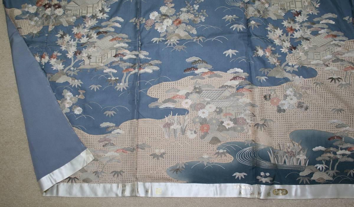 ◆高級手縫い仕立付◆ 横塚先生と将雪英◆汕頭手刺繍訪問着◆_画像5