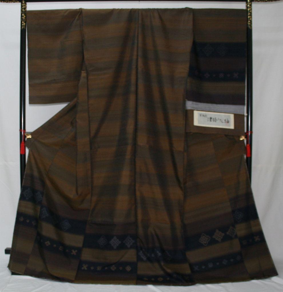 ◆高級お誂えお仕立付き◆特別伝統民芸工芸品◆手織り真綿紬訪問着◆H053_画像1