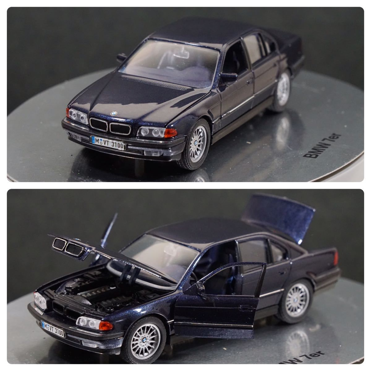 中古品 1/43 希少!BMWディーラー特注品!BMW 7er E38 7シリーズ ドア、ボンネット、トランク開閉 カタログナンバー80429422181