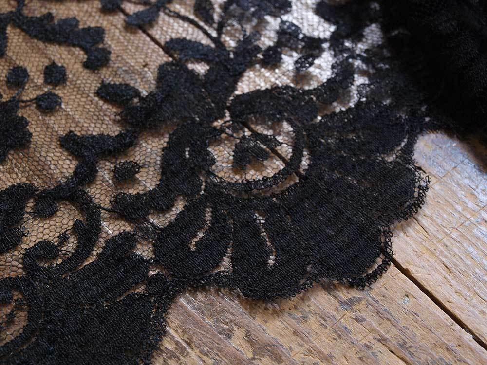 刺繍レース ブラックレースショール200cm×92cmチュール 時代衣装 古布 襤褸 ゴシックテキスタイル ヴィンテージ アンティーク/G351_画像6