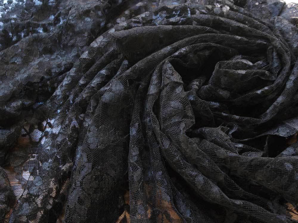 刺繍レース ブラックレースショール200cm×92cmチュール 時代衣装 古布 襤褸 ゴシックテキスタイル ヴィンテージ アンティーク/G351_画像10