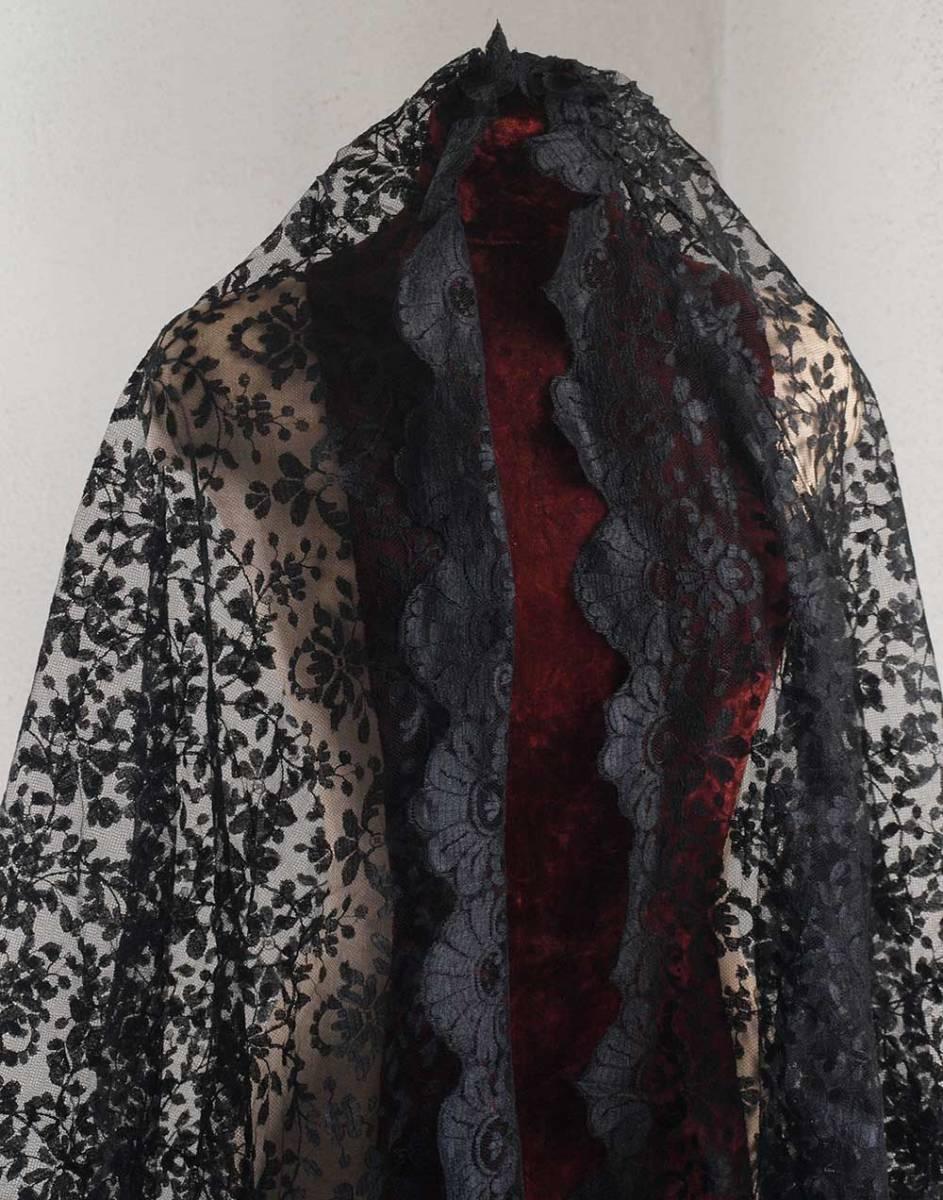 刺繍レース ブラックレースショール200cm×92cmチュール 時代衣装 古布 襤褸 ゴシックテキスタイル ヴィンテージ アンティーク/G351_画像9