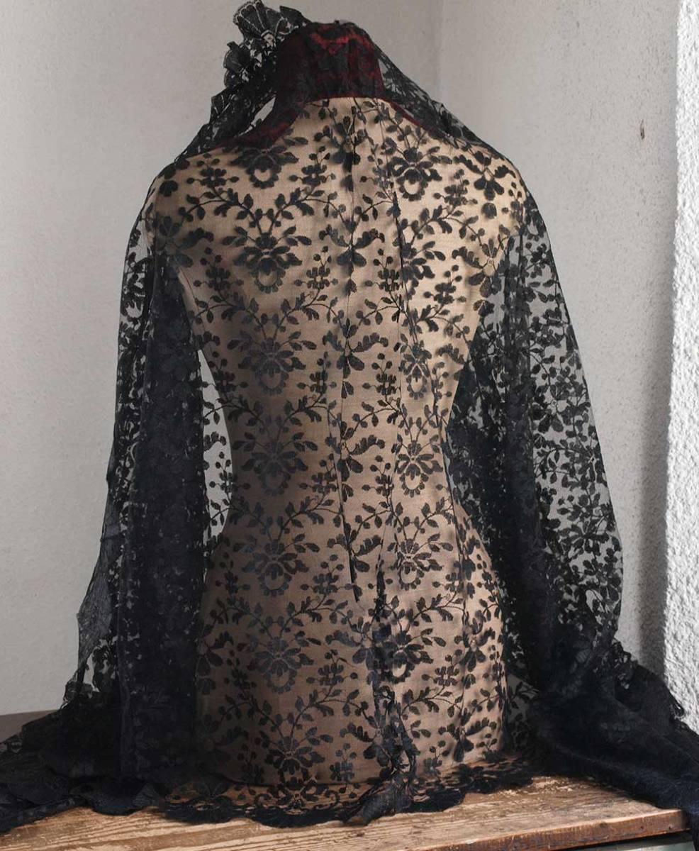 刺繍レース ブラックレースショール200cm×92cmチュール 時代衣装 古布 襤褸 ゴシックテキスタイル ヴィンテージ アンティーク/G351_画像7
