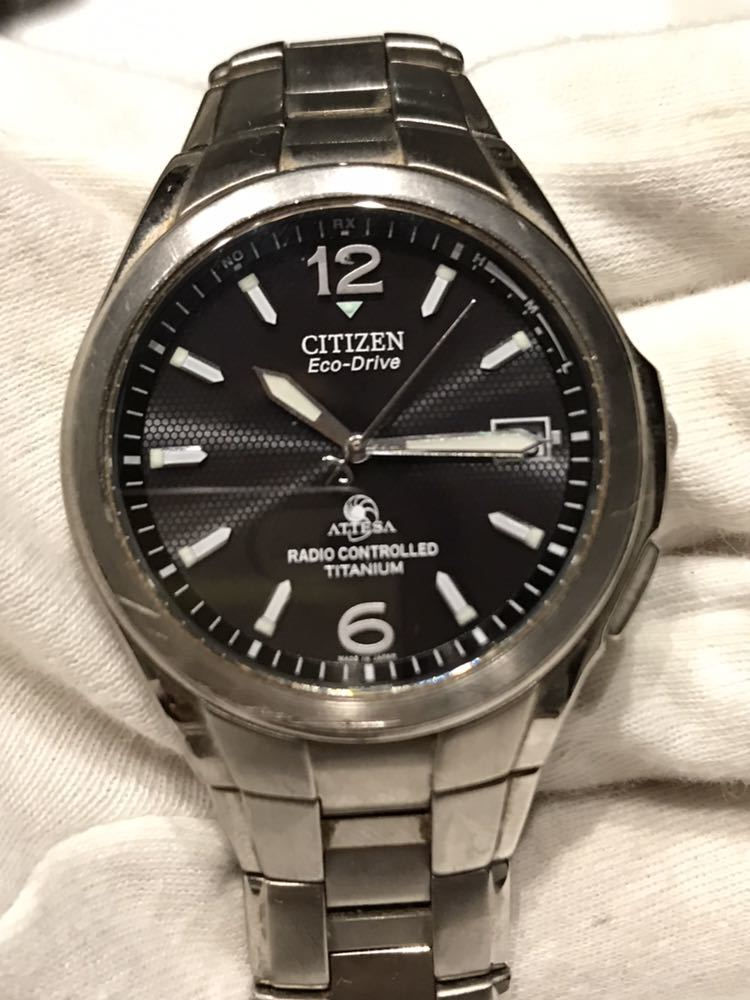 CITIZEN メンズ腕時計 ATESSA アテッサ チタン フルメタルケース 電波時計 ソーラー 黒文字盤 エコドライブ H410-t003788