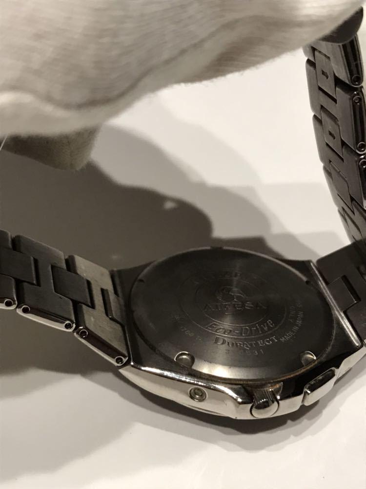 CITIZEN メンズ腕時計 ATESSA アテッサ チタン フルメタルケース 電波時計 ソーラー 黒文字盤 エコドライブ H410-t003788_画像4