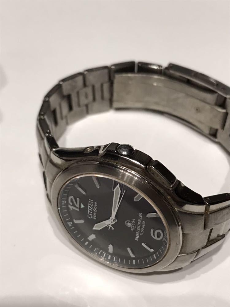 CITIZEN メンズ腕時計 ATESSA アテッサ チタン フルメタルケース 電波時計 ソーラー 黒文字盤 エコドライブ H410-t003788_画像3