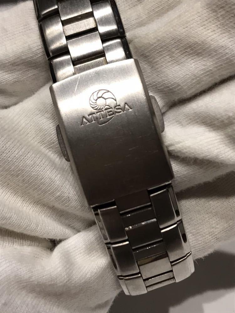 CITIZEN メンズ腕時計 ATESSA アテッサ チタン フルメタルケース 電波時計 ソーラー 黒文字盤 エコドライブ H410-t003788_画像5
