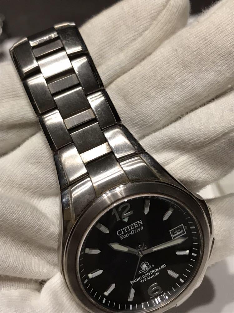 CITIZEN メンズ腕時計 ATESSA アテッサ チタン フルメタルケース 電波時計 ソーラー 黒文字盤 エコドライブ H410-t003788_画像8