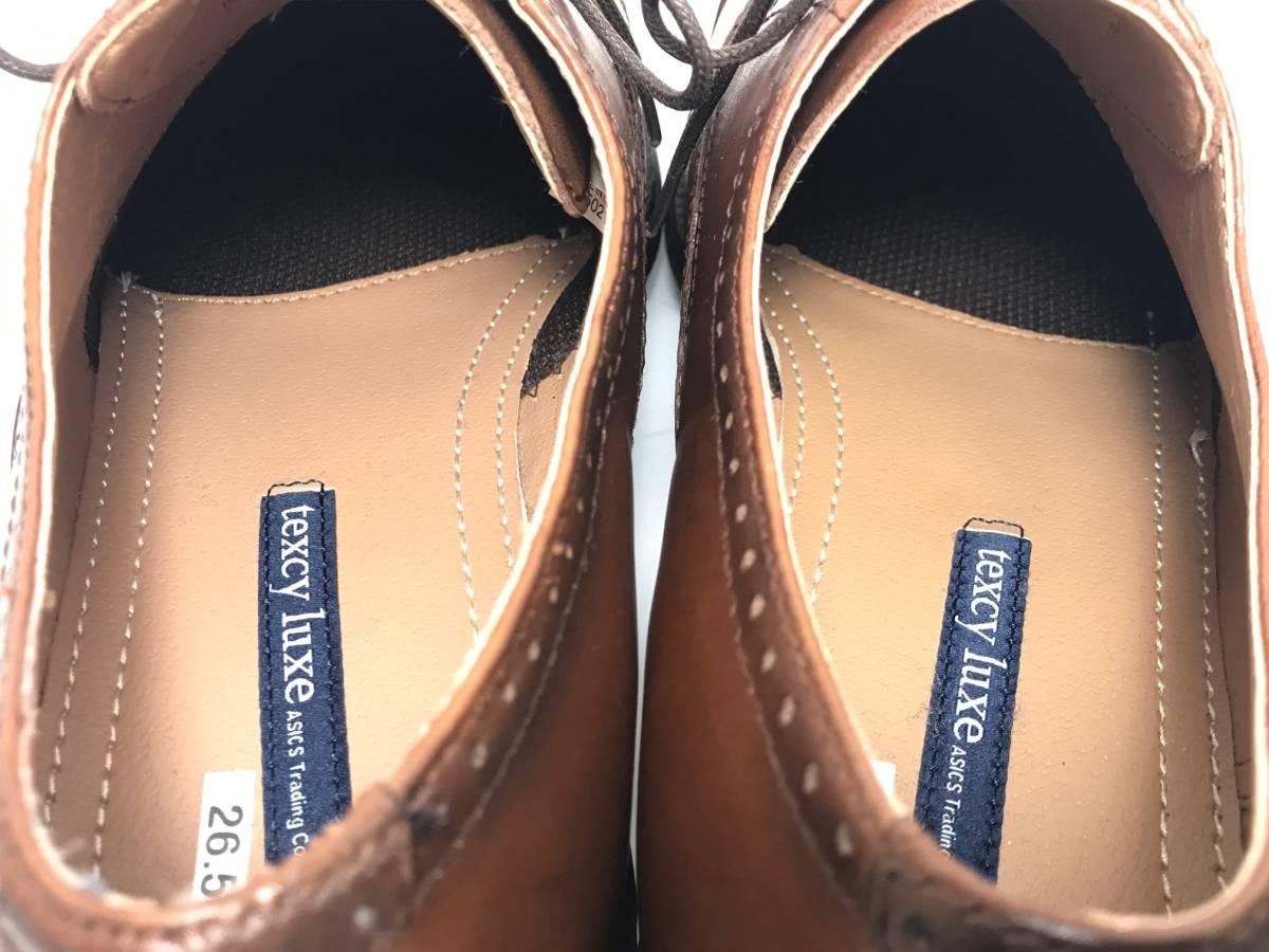 即決】アシックス商事 テクシーリュクス (26.5cm) 軽量 トラッド ストレートチップ ビジネス シューズ /茶 ブラウン 内羽根 本革 皮 靴_画像6
