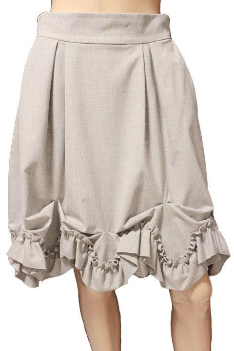 【1点限り 即決】美品 FOXEY NEW YORK フォクシーニューヨーク ブリリアント フリル プリーツ スカート 31668 ライトグレー size 42_画像1