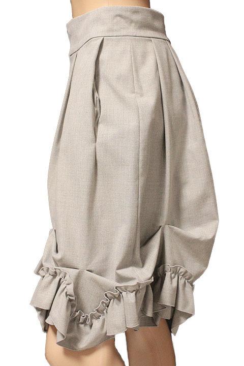 【1点限り 即決】美品 FOXEY NEW YORK フォクシーニューヨーク ブリリアント フリル プリーツ スカート 31668 ライトグレー size 42_画像2