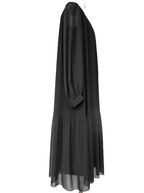 古着♪レトロ・Vintage黒プリーツシフォンワンピ♪ワンピース70s60s70年代60年代ヴィンテージ昭和11号ふんわり長袖アンティーク即決_画像4