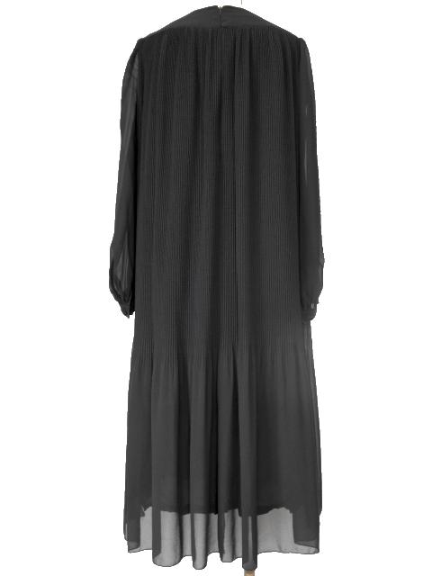 古着♪レトロ・Vintage黒プリーツシフォンワンピ♪ワンピース70s60s70年代60年代ヴィンテージ昭和11号ふんわり長袖アンティーク即決_画像5