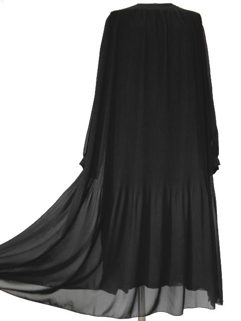 古着♪レトロ・Vintage黒プリーツシフォンワンピ♪ワンピース70s60s70年代60年代ヴィンテージ昭和11号ふんわり長袖アンティーク即決_画像6