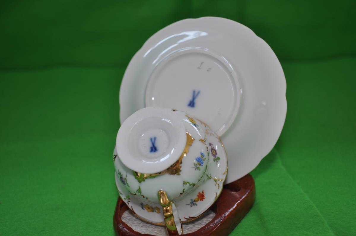 希少【マイセン】Bフォームグランッ宮廷小花ホワイトカップ&ソーサー1級品_画像10